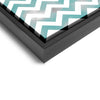Wall art and Canvas artwork, Aqua & White Chevron, Smog