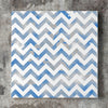 Wall art and Canvas artwork, Blue & White Chevron, Smog