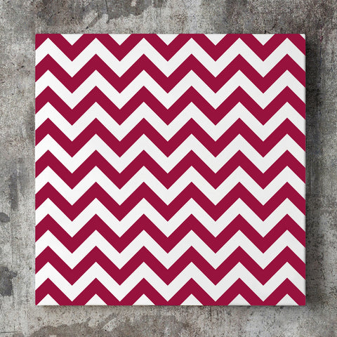 Wall art and Canvas artwork, Burgundy & White Chevron, Clean