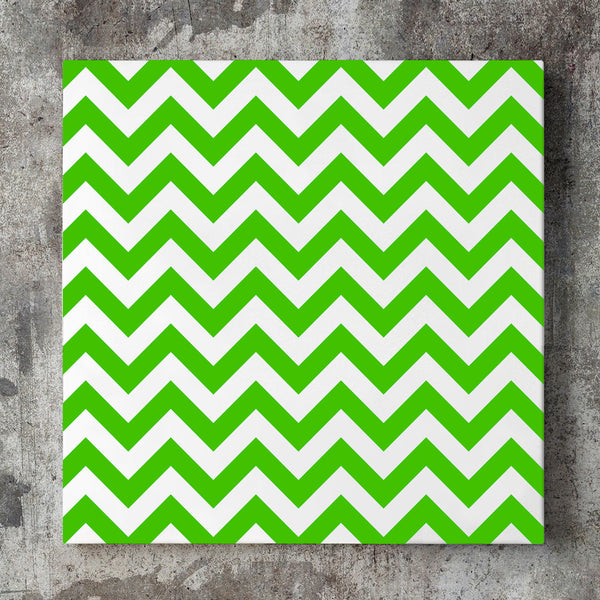 Wall art and Canvas artwork, Green & White Chevron, Clean