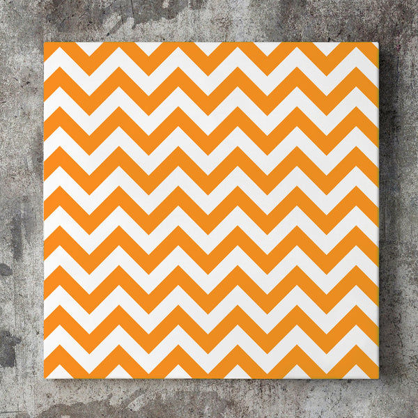 Wall art and Canvas artwork, Orange & White Chevron, Clean