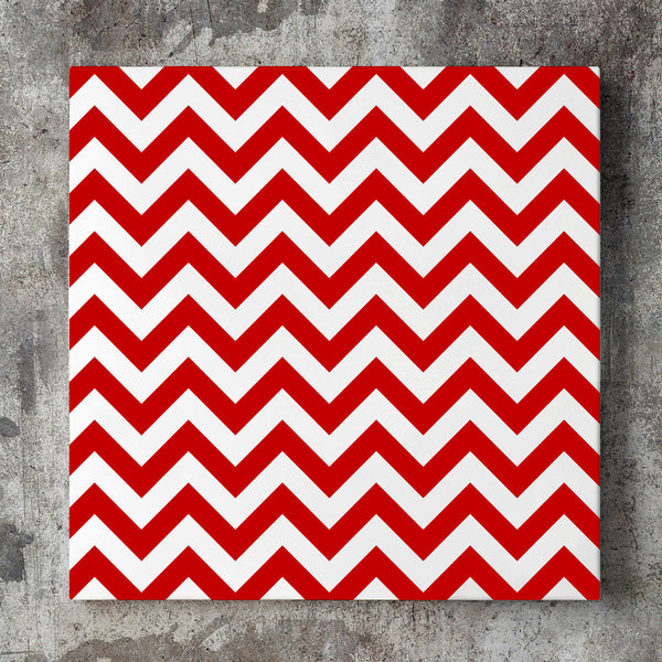 Wall art and Canvas artwork, Red & White Chevron, Clean