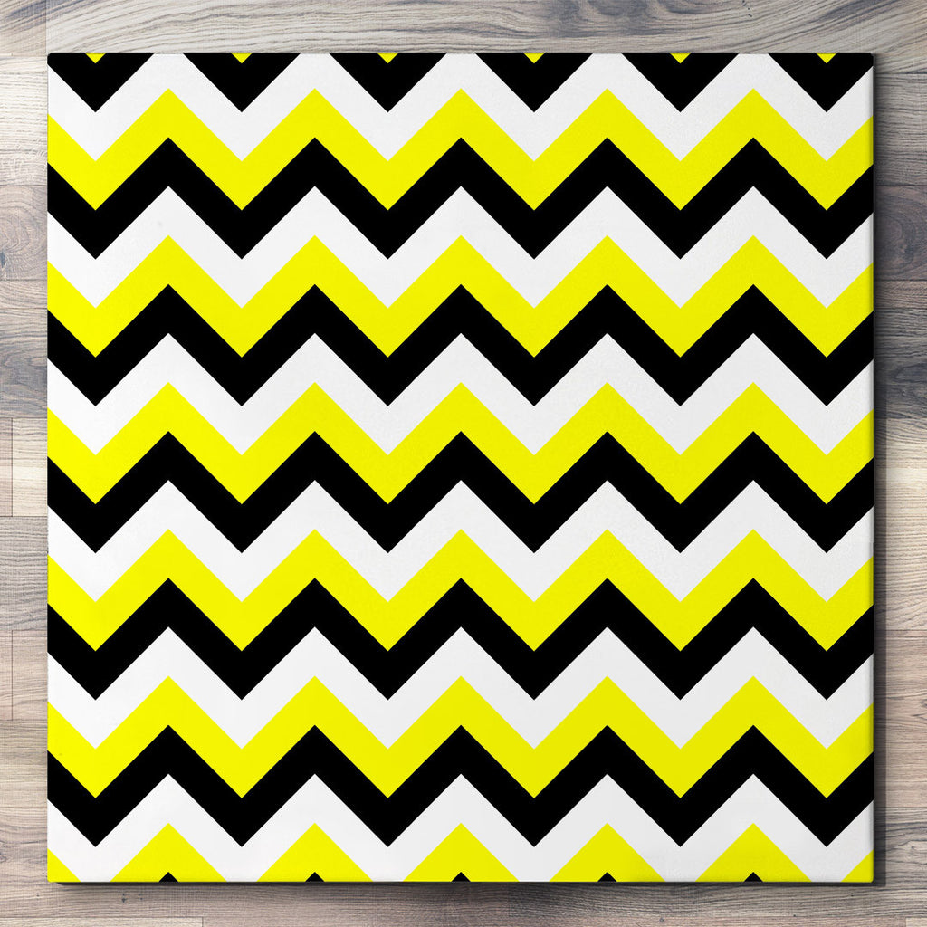 Wall art and Canvas artwork, Black, Yellow, and White Chevron, Clean