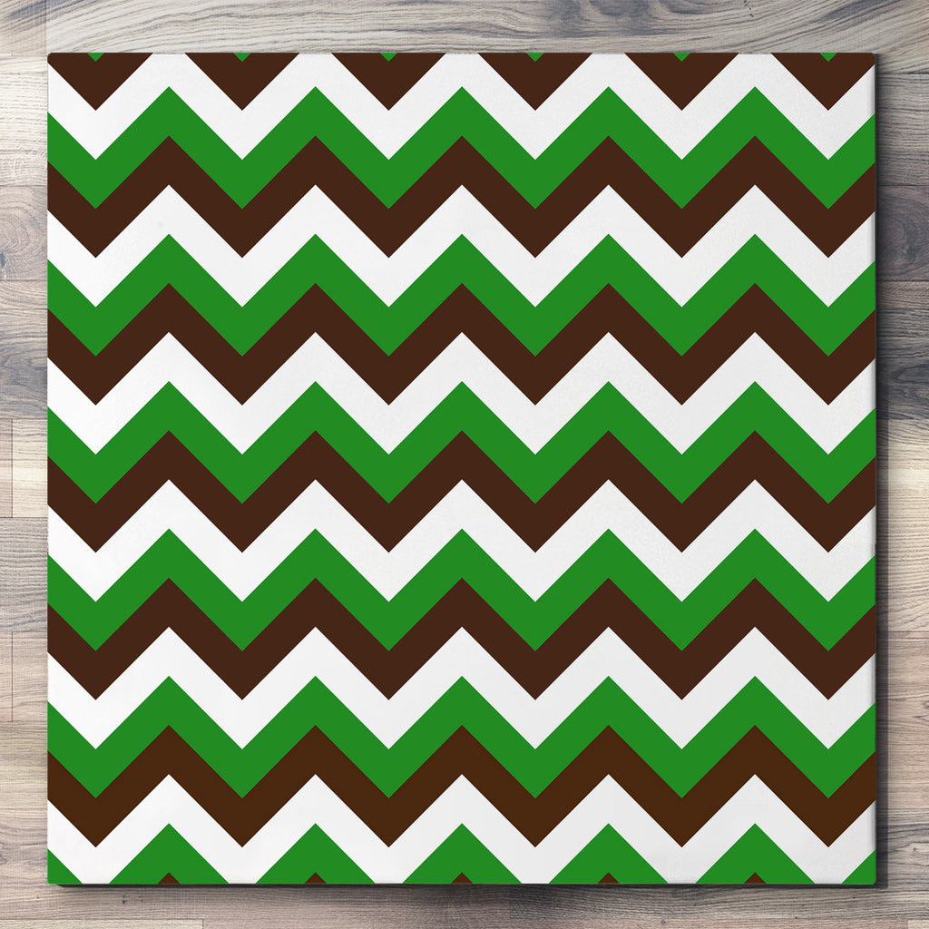 Wall art and Canvas artwork, Chocolate, Green, and White Chevron, Clean