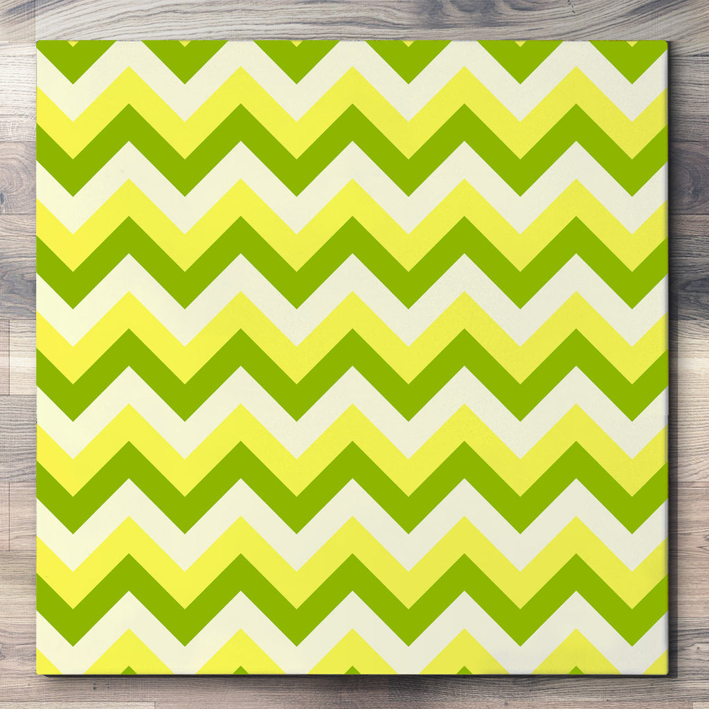 Wall art and Canvas artwork, Green, Yellow, and Mint Chevron, Clean