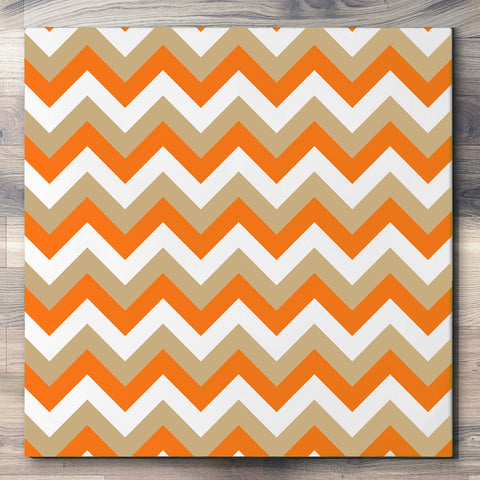 Wall art and Canvas artwork, Pumpkin, Beige, and White Chevron, Clean