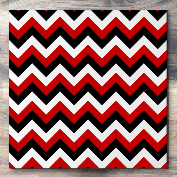 Wall art and Canvas artwork, Red, Black, and White Chevron, Clean