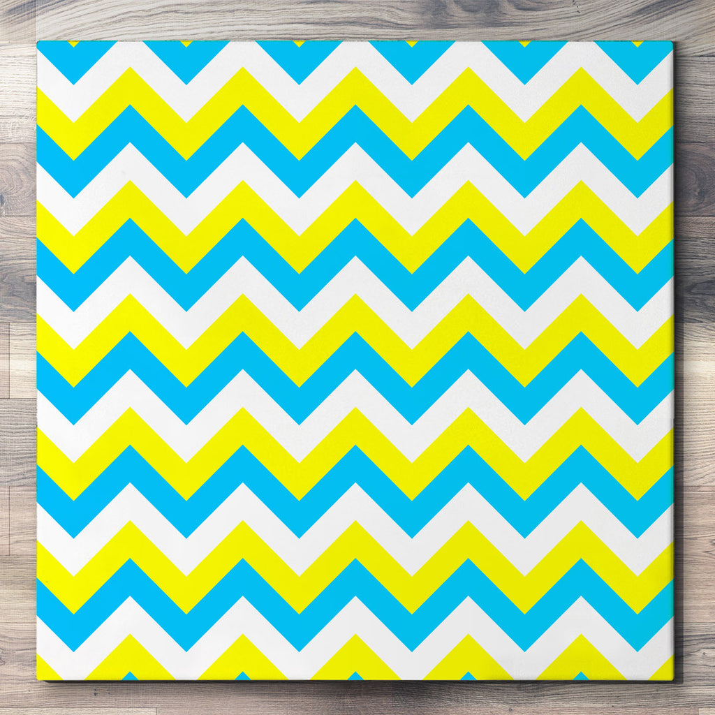 Wall art and Canvas artwork, Sky Blue, Yellow, and White Chevron, Clean