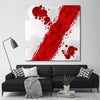 Red & White Canvas Art in Room