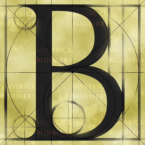 Canvas artwork monogram wall art letter B beige & black