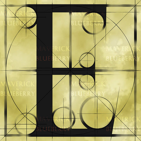 Canvas artwork monogram wall art letter E beige & black