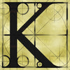 Canvas artwork monogram wall art letter K beige & black