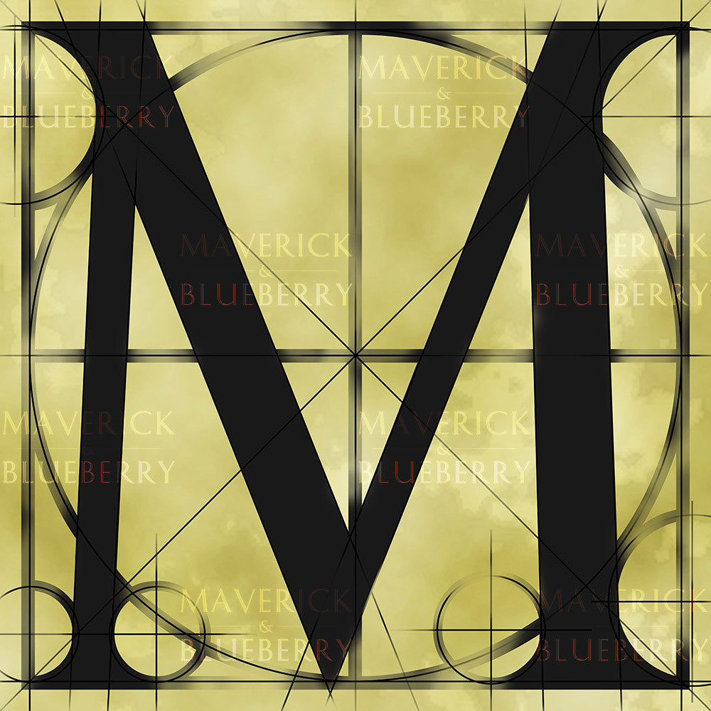 Canvas artwork monogram wall art letter M beige & black