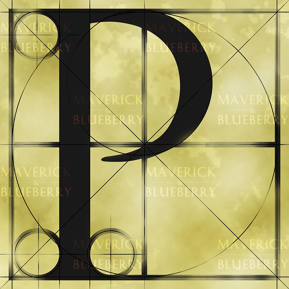 Canvas artwork monogram wall art letter P beige & black