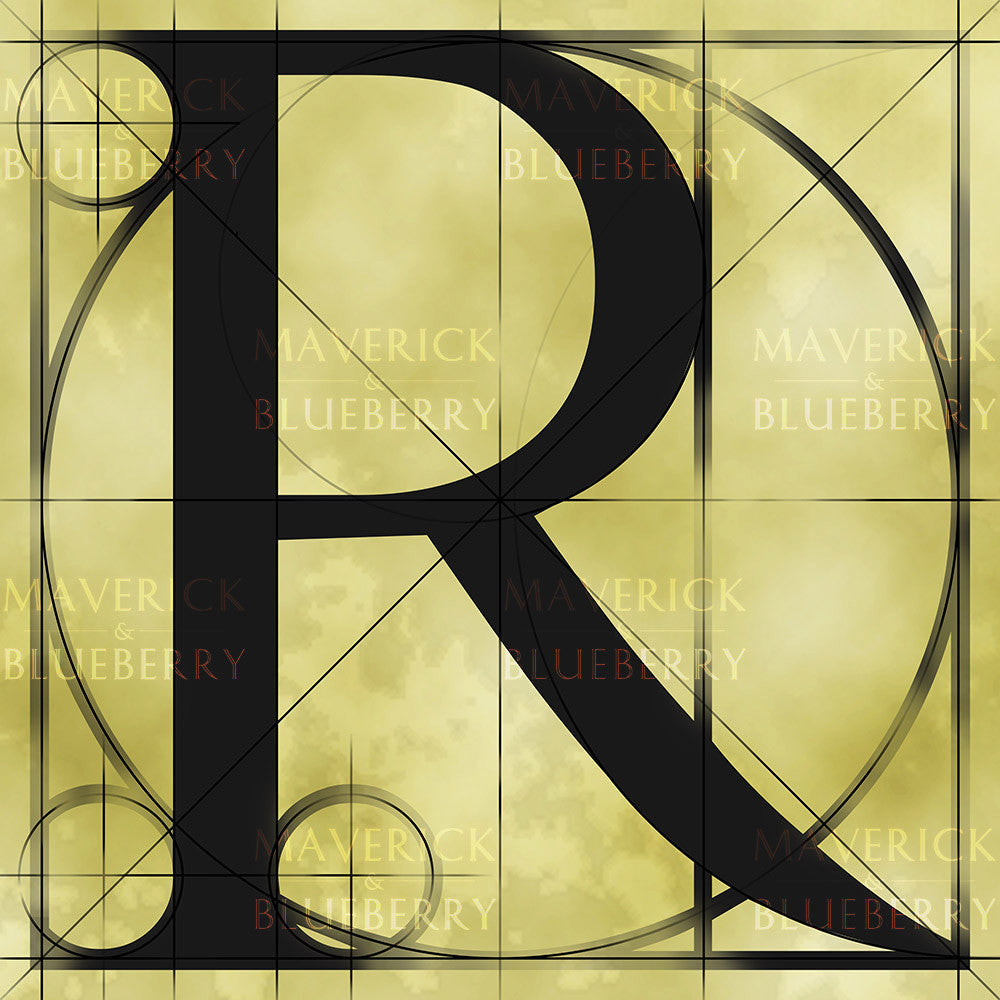 Canvas artwork monogram wall art letter R beige & black
