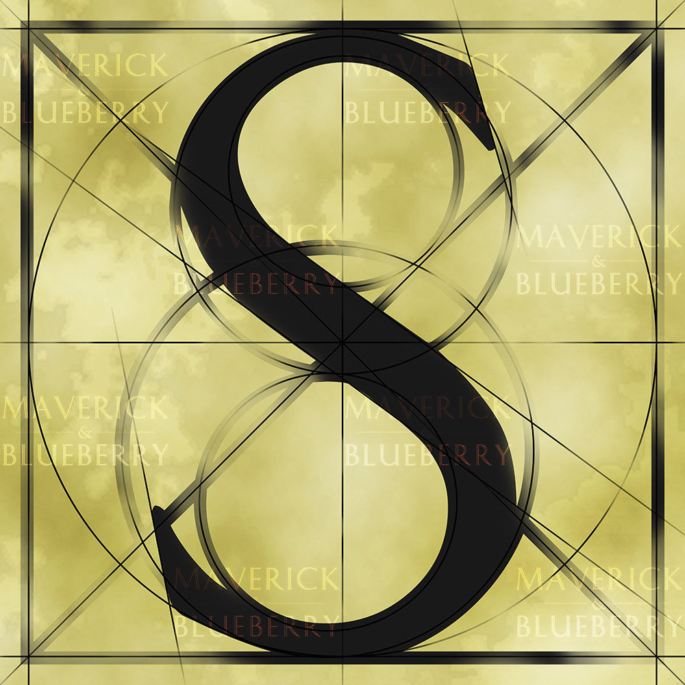 Canvas artwork monogram wall art letter S beige & black