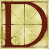 Canvas artwork monogram wall art letter D beige & rust