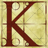 Canvas artwork monogram wall art letter K beige & rust