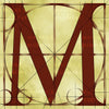 Canvas artwork monogram wall art letter M beige & rust