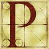 Canvas artwork monogram wall art letter P beige & rust