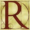 Canvas artwork monogram wall art letter R beige & rust