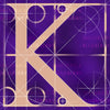 Canvas artwork monogram wall art letter K purple