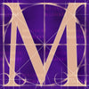 Canvas artwork monogram wall art letter M purple