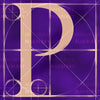 Canvas artwork monogram wall art letter P purple