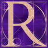 Canvas artwork monogram wall art letter R purple