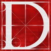 Canvas artwork monogram wall art letter D red & white