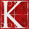 Canvas artwork monogram wall art letter K red & white