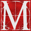 Canvas artwork monogram wall art letter M red & white