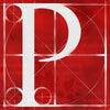 Canvas artwork monogram wall art letter P red & white