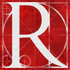 Canvas artwork monogram wall art letter R red & white