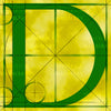 Canvas artwork monogram wall art letter D yellow & green