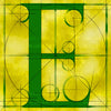 Canvas artwork monogram wall art letter E yellow & green