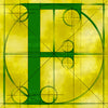 Canvas artwork monogram wall art letter F green & yellow