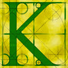 Canvas artwork monogram wall art letter K yellow & green