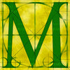 Canvas artwork monogram wall art letter M yellow & green