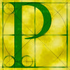 Canvas artwork monogram wall art letter P yellow & green