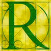 Canvas artwork monogram wall art letter R yellow & green