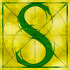 Canvas artwork monogram wall art letter S yellow & green