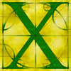 Canvas artwork monogram wall art letter X yellow & green