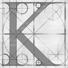 Canvas artwork monogram wall art letter K silver & gray