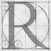 Canvas artwork monogram wall art letter R silver & gray