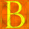 Canvas artwork monogram wall art letter B orange & yellow
