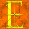 Canvas artwork monogram wall art letter E orange & yellow
