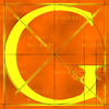 Canvas artwork monogram wall art letter G orange & yellow