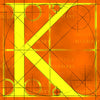 Canvas artwork monogram wall art letter K orange & yellow