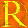 Canvas artwork monogram wall art letter R orange & yellow